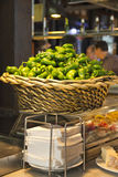 Padron peppers basket and tapas - Mercado de San Miguel, Madrid Stock Images