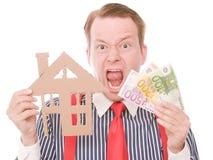 Padrone di casa frustrato di affari con soldi immagine stock