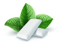 Pads of bubble gum with mint flavour. Green leaves spearmint for fresh breathing. Chewing gums for healthy teeth and dental hygiene. Refreshing sweet candy stock illustration