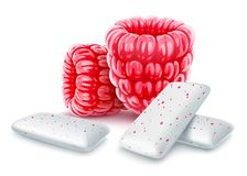 Pads of bubble gum with sweet raspberry flavour. Pads of bubble gum with raspberry flavour. Red raspberries with chewing gums for healthy teeth, fresh breathing vector illustration