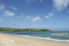 Padstow beach. Scenic view of Padstow beach with blue sky and cloudscape, Cornwall, England royalty free stock photo