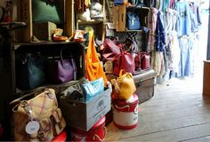 Padstow, Cornwall, April 11th 2018: Selection of handbags and ot royalty free stock photography