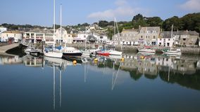 Padstow harbour ansd boats North Cornwall England UK beautiful late summer sun and calm fine weather drew visitors to the coast stock video
