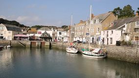 Padstow harbour and boats North Cornwall England UK PAN stock video footage