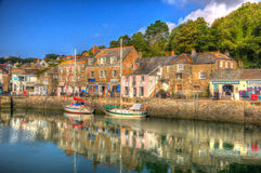 Padstow harbour Cornwall England UK with boats in brilliant colourful HDR Stock Photo
