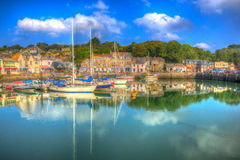 Padstow harbour Cornwall England UK with boats in brilliant colourful HDR Royalty Free Stock Photography