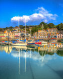 Padstow harbour Cornwall England UK with boats in brilliant colourful HDR Royalty Free Stock Images