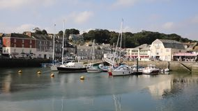 Padstow harbour North Cornwall England UK beautiful late summer sun and calm fine weather drew visitors to the coast stock video