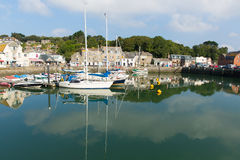Padstow harbour North Cornwall England UK beautiful late summer sun and calm fine weather drew visitors to the coast Royalty Free Stock Photos