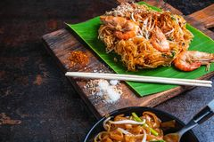 Padthai noodles with shrimps and vegetables. stock photos