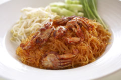 Padthai. Spicy noodle fried and crab Stock Photos