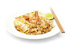 Padthai, Thai noodle with shrimp Royalty Free Stock Photo
