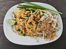Padthai Thaifood in the dish. Thai noodle padthai in the dish Royalty Free Stock Image