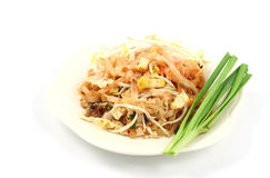 Padthai. Thin rice noodles fried with tofu, vegetable, egg and peanuts Stock Photos