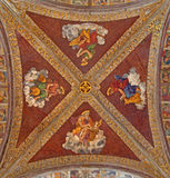 Padua - The ceiling fresco in church San Francesco del Grande with the Four Evangelist in chapel Santa Maria della Carita. PADUA, ITALY - SEPTEMBER 8, 2014: The Royalty Free Stock Photography