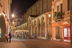 Padua - The Church Santa Maria dei Servi and Via Roma at night. Royalty Free Stock Image