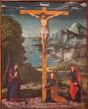 Padua - Crucifixion scene in the church Chiesa di San Gaetano and the chapel of the Crucifixion by unknown painter from 17th Royalty Free Stock Image