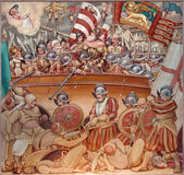 Padua - de verf van Slag van Lepanto in 1571 in kerk Basilica del Carmine Stock Fotografie