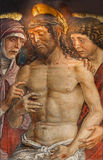 Padua - Deposition of the cross or tortured Jesus  fresco by Mantegna school from 15. cent. in church Santa Maria dei Servi. Stock Image