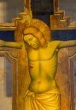 Padua - el detalle de la crucifixión a partir del año 1370 por Guariento en el presbiterio del degli Eremitani de Chiesa de la ig Imagenes de archivo