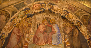Padua - fresk koronacja maryja dziewica w bazylice Del Santo lub bazylice święty Anthony Padova Giusto De Menabuoi Zdjęcie Royalty Free