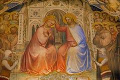Padua - freskomålning av kröning av jungfruliga Mary i Basilika del Santo eller basilika av St Anthony av Padova av Giusto de Men Royaltyfria Bilder