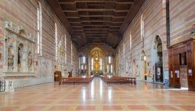 Padua - het schip van degli Eremitani van kerkchiesa (Kerk van Eremites) Stock Afbeeldingen