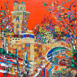 PADUA, ITALIË - SEPTEMBER 10, 2014: ` La Specola ` - oude waarnemingscentrumtoren De moderne verf door Nelu Pascu royalty-vrije stock foto's