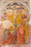 PADUA, ITALIA - 9 DE SEPTIEMBRE DE 2014: El fresco de la crucifixión o del Calvary en la iglesia San Nicolo (San Nicolás) por el  Foto de archivo libre de regalías