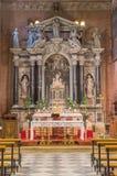 PADUA, ITALIEN - 8. SEPTEMBER 2014: Der barocke hauptsächlichaltar von vecchio Kirche Sans Benedetto (Heiliges Benedict) Stockfotografie
