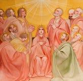 PADUA ITALIEN - SEPTEMBER 9, 2014: Freskomålningen av pingstdagenplatsen i kyrkliga Basilika del Carmine royaltyfri fotografi