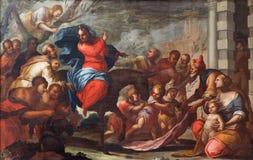 PADUA ITALIEN - SEPTEMBER 10, 2014: Målarfärg av det Jesus tillträdeet in i Jerusalem (palmsöndag) i den kyrkliga Chiesaen di San Arkivfoto