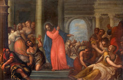 PADUA ITALIEN - SEPTEMBER 10, 2014: Målarfärg av Jesus Cleanses tempelplatsen i den kyrkliga Chiesaen di San Gaetano Arkivbild