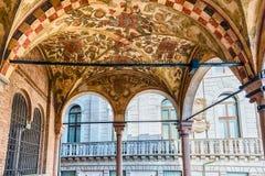 The scenic Loggia of Palazzo della Ragione, Padua, Italy. PADUA, ITALY - APRIL 28: The scenic Loggia which is the external balcony of Palazzo della Ragione, a royalty free stock photo