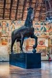 Wooden sculpture of a horse, Palazzo della Ragione, Padua, Italy. PADUA, ITALY - APRIL 28: Wooden sculpture of a horse inside Palazzo della Ragione, a medieval stock photos