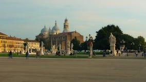 PADUA, ITALY - OCTOBER, 2017: Piazza Prato della Valle on Santa Giustina abbey. Prato della Valle elliptical square. With a green island the center, surrounded stock footage