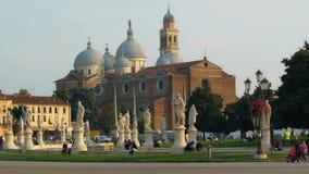 PADUA, ITALY - OCTOBER, 2017: Piazza Prato della Valle on Santa Giustina abbey. Prato della Valle elliptical square. With a green island the center, surrounded stock video
