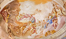 PADUA, ITALY - SEPTEMBER 8, 2014: The Father of eternity. Fresco on the main apse of Basilica di Santa Giustina Stock Photos