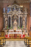 PADUA, ITALY - SEPTEMBER 8, 2014: The main baroque altar of church San Benedetto vecchio (Saint Benedict) Stock Photography