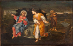 PADUA, ITALY - SEPTEMBER 10, 2014: Paint of Jesus and Samaritans at well scene in the church Chiesa di San Gaetano Stock Images