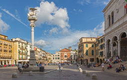 PADUA, ITALY - SEPTEMBER 10, 2014: Piazza dei Signori square  and st. Mark column Stock Photos