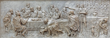 PADUA, ITALY - SEPTEMBER 9, 2014: The relief of Last supper in church Basilica del Carmine on the main altar by Battista Bissoni Royalty Free Stock Images