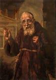 Padua - målarfärg av helgoncapucinen Leopold Madnic av målaren Sorgato (1960) i kyrkliga chiesadi Santa Maria del Torresino Arkivbilder