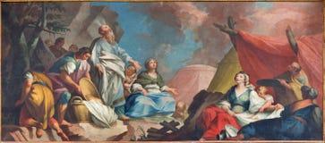 Padua - målarfärg av stcene - Moses och samla för israeliter av mannaform 16 cent vid den okända målaren i domkyrka Arkivfoto