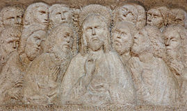 Padua - The Modern relief of the Last supper on the altar in church Santa Maria dei Servi. Stock Images