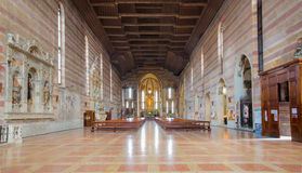 Padua -  The nave of church Chiesa degli Eremitani (Church of the Eremites). Stock Images
