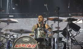 Padua Padova, PD, Italy - March 29, 2017: Luca Martelli drummer Royalty Free Stock Photos