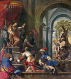 Padua - Pain of Old Testamnet scene with prophet Elijah and  queen Jezebel in church Basilica del Carmine from 17. cent Stock Image
