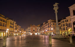Padua -  Piazza dei Signori square with the st. Mark column at night. Stock Photos