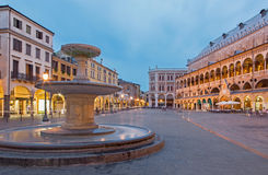 Padua - Piazza delle Erbe in evening dusk and Palazzo Ragione. Royalty Free Stock Photos